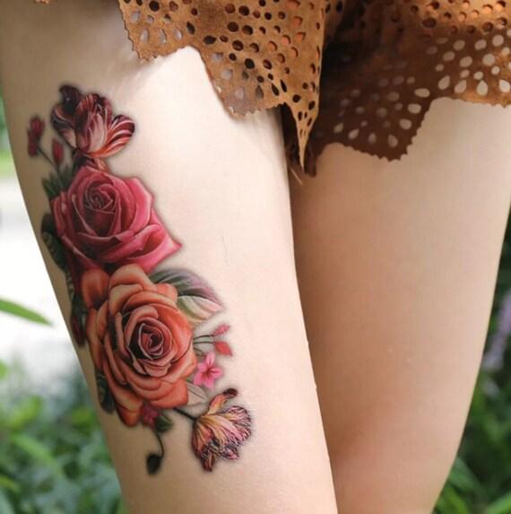 a6d067c5fcf91 Flower Tattoo. Sexy Tattoos. Temporary Tattoos. Womens Tattoo.   Etsy
