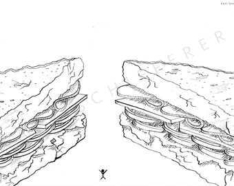 Sandwich Lineart   Coloring Page for Adults
