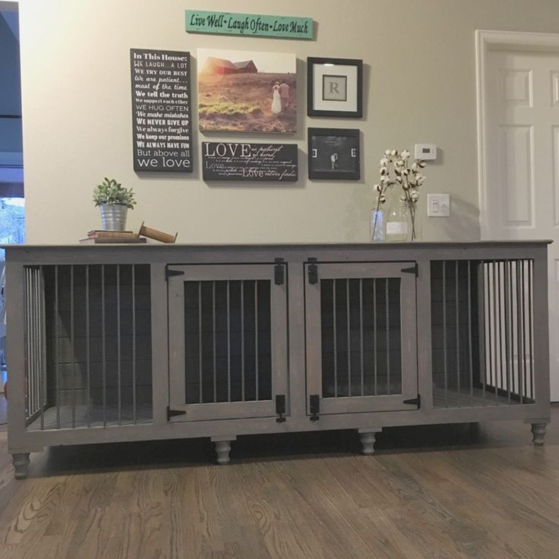 Double Dog Kennel Furniture: Indoor Dog Kennels DoubleXLarge Rustic Dog Crate-Farmhouse