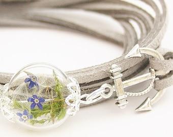 Modeschmuck Armband mit Röhre und blauen Perlen Boho Filigran Damenarmband