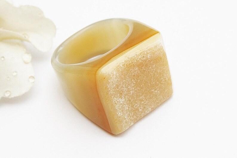 Ring Agate Brazil Unique peach agate agate Ring Drusenring stone ring M\u00e4nnschschmuck man unisex Agate Jewelry Drusenachat Agate strangles Men