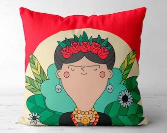 Frida Kahlo Pillow Frida Kahlo Cushion Cover Dia De Los Muertos Mexican Folk Art Home Decor Nursery Decor Mexican Home Decor Gift For Her