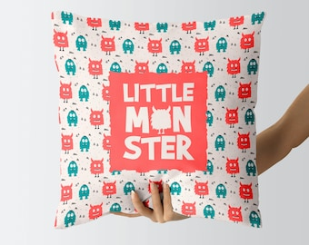 Monster Pillow, Monster Nursery Decor, Monster Cushion Cover, Home Decor, Decorative Pillows, Gift For Her, Baby Shower Gift, Little Monster