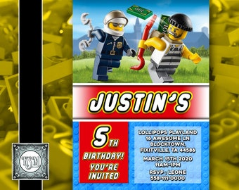 Lego City V1 Cops Robbers Personalised Birthday Invitation Digital Download Party Invite Printable