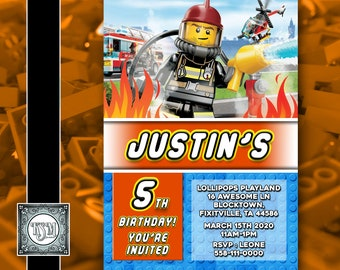 Lego City V2 Fire Personalised Birthday Invitation Digital Download Party Invite Printable