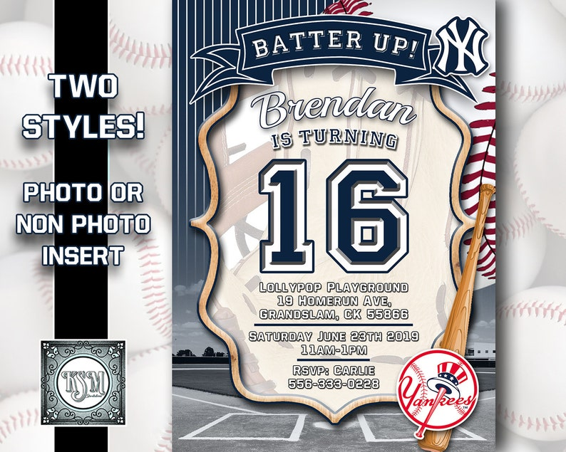 New York Yankees - Baseball Birthday Invitation Personalised, digital  download, party invite, printable, all ages