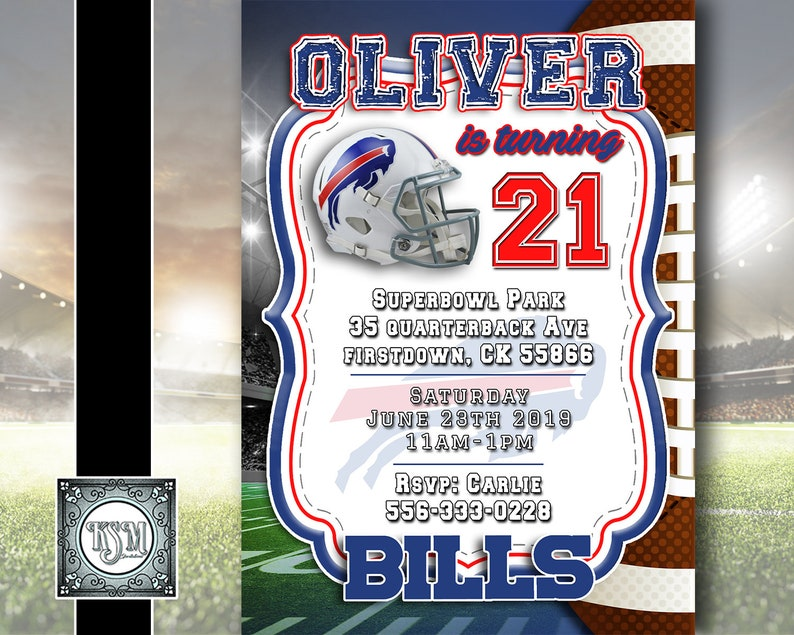 photo relating to Buffalo Bills Printable Schedule titled Buffalo Expenses - Gridiron Birthday Invitation Personalized, electronic down load, occasion invite, printable, all ages