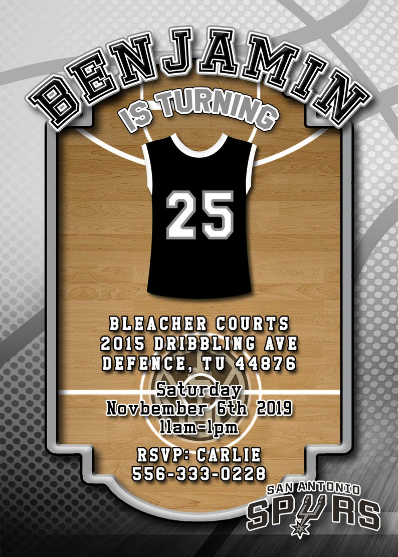 photograph relating to San Antonio Spurs Schedule Printable identified as San Antonio Spurs - Basketball Birthday Invitation Customized, electronic down load, social gathering invite, printable, all ages
