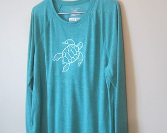 SEA TURTLE Long Sleeve EMBROIDERED Honu Hana T-shirt