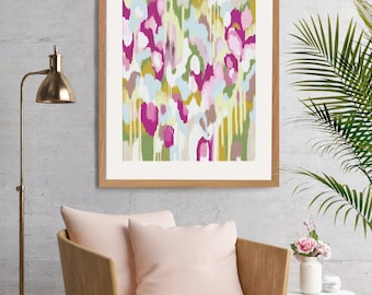 Large Pink and Green Abstract Art, Downloadable Art, Poster Art, Printable art, Abstract Painting