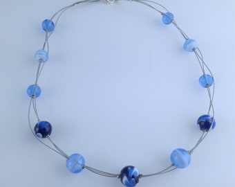 Multi beads necklace with Murano glass spun torch blue monochrome-Coralie