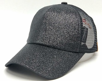 1503d10d003 Glitter Baseball Cap  Glitter Ponytail Cap  Glitter Cap with Ponytail Hole  Glitter  Baseball Cap Adjustable