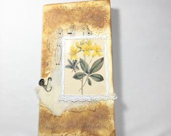handmade Traveler's Notebook insert/refill sweet yellow flower/distress cover