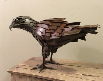 Metal Red Tail Hawk Sculpture