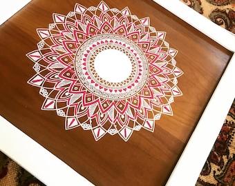 Hand Painted Mandala on Wood
