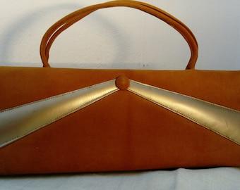 7c4b12fdafb Striking 1950 s Ochre Tan Mustard Brown Colour Velvet Handbag. Vintage bag
