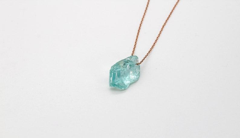 Crystal Jewelry Dainty Aquamarine Choker Aquamarine Pendant Gift for her 925 Italian Silver Bridal Necklace Iceberg Aquamarine Necklace