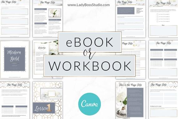 Canva eBook Template, Workbook, Canva Template, Checklist, Course Workbook,  eBook Template, Gold, Worksheet, DIY