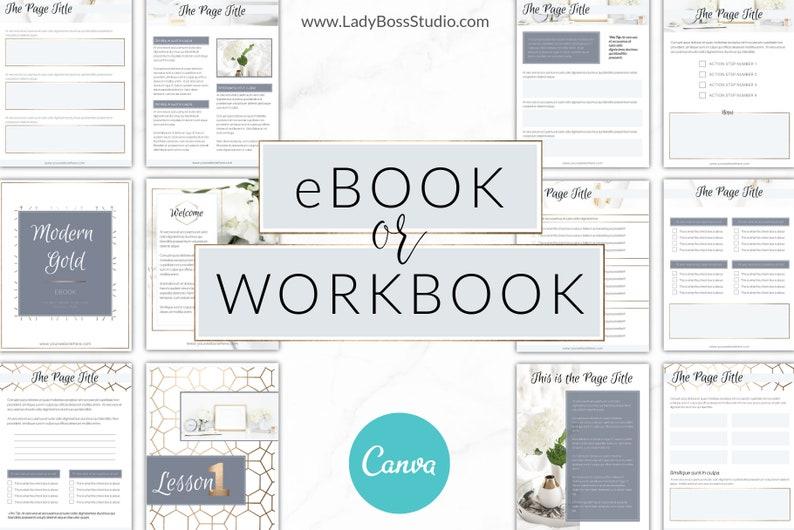 Canva eBook Template, Gold, DIY Design, Workbook, Canva Template,  Checklist, Course Workbook, eBook Template, Modern Gold, Worksheet