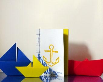 Anchor - linocut - printing & binding hand - A6 notebook