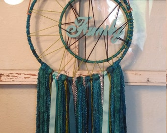 Family teal blue green crescent moon sparkle dream catcher