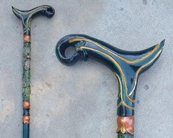 Walking cane for women. Walking stick for women. Hand carved walking stick for women. Carved walking cane.