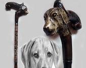 walking stick handmade wood carved retriever dog Hand made wooden cane Walking stick dog