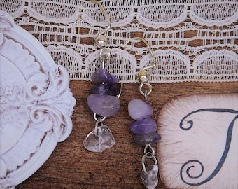 Genuine Amethyst and quartz earrings. It is a dream stone, for protection, wisdom, and many healing properties.