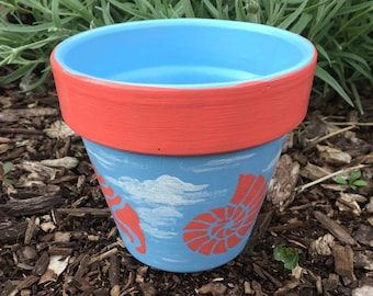 Hand Painted Terra Cotta Flower Pot - Personalized Sky Blue with Coral Seashells Clay Flower Pot