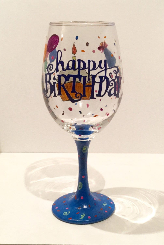 Hand Painted Birthday Wine Glass