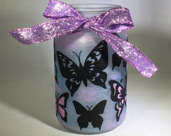 Butterfly Mason Jar Lantern - Luminaire - Flameless Votive Holder - Mason Jar Nightlight- Tea Light Candle Holder