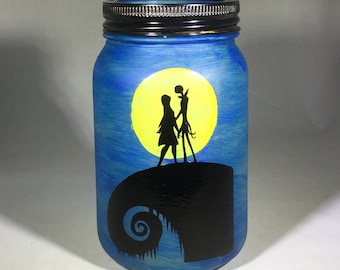 Nightmare Before Christmas Inspired Mason Jar Lantern - Blue Jack and Sally Luminaire - Flameless Votive Holder - Mason Jar Nightlight