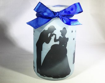 Cinderella Jar Lantern - Cinderella Luminaire - Flameless Votive Holder - Mason Jar Nightlight - Tea Light Candle Holder