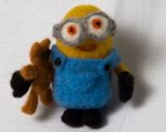 Needle Felted Minion with His Little Teddy Wool Felted Yellow Minion Unique gift