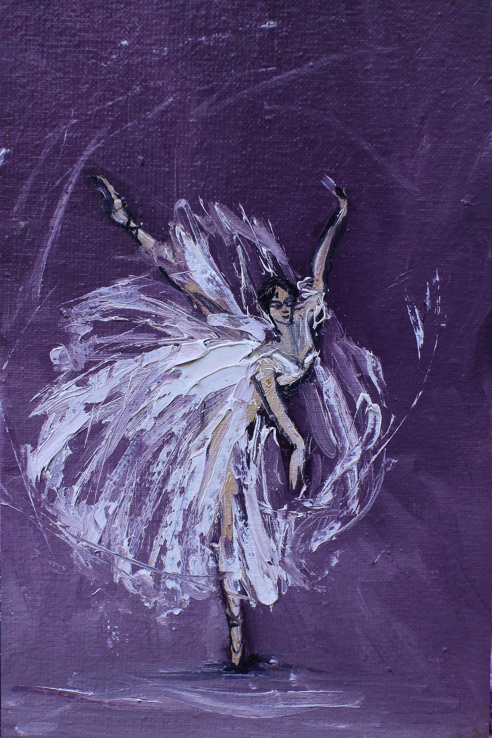 set for 4 prints ballerina painting  ballet dancer oil painting - ballet dancer art  painting pointe shoes  ballerina  print