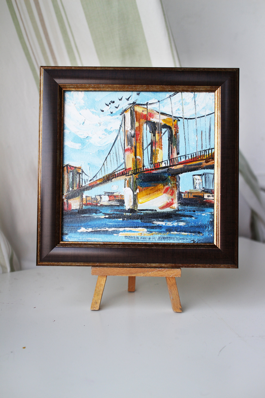 Oil painting New York Verrazzano-Narrows Bridge oil Painting framed original Manhattan Wall Art Decor Manhattan New York America Painting