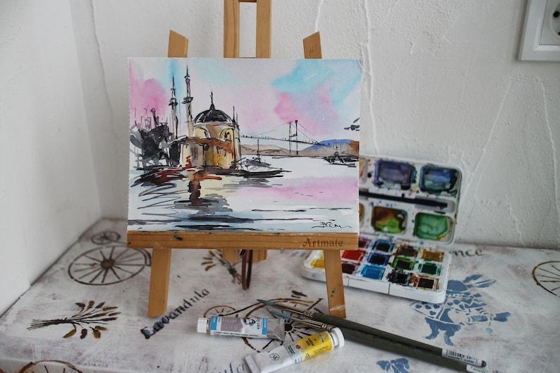 Painting Istanbul bridge watercolor original Turkish framed watercolor Church of Hagia Sophia