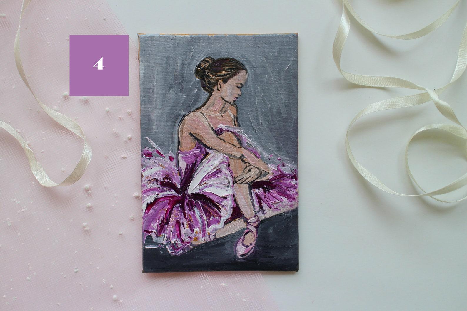 set for 4 painting, ballerina painting oil, ballet painting oil, dancer painting, ballet dancer art, mini painting, pointe shoes