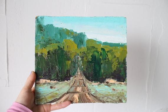 4x4 oil on canvas board Bridge