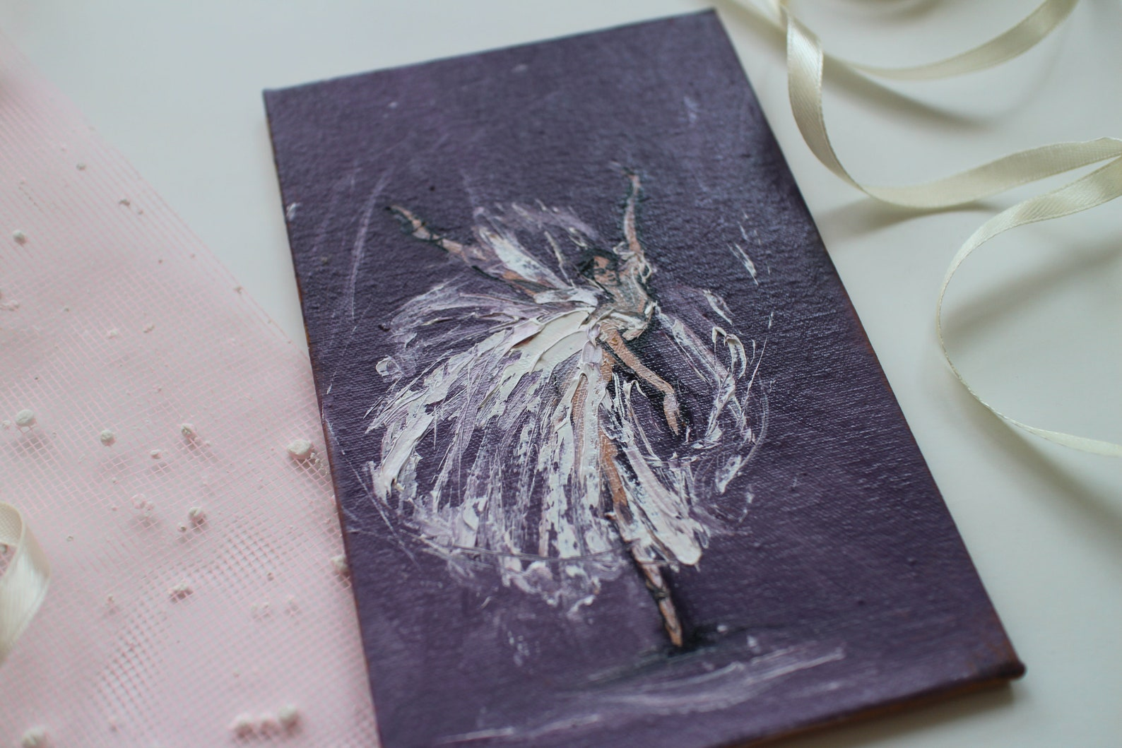 ballet painting, ballerina painting oil, ballet painting oil, dancer painting, ballet dancer art, mini painting, pointe shoes, b