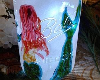 Mermaid Quart Distressed Mason Jar with Fairy Lights
