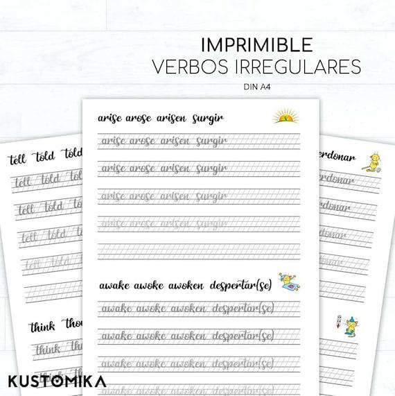 Irregular Verbs Hand Lettering Worksheets Spanish Translation