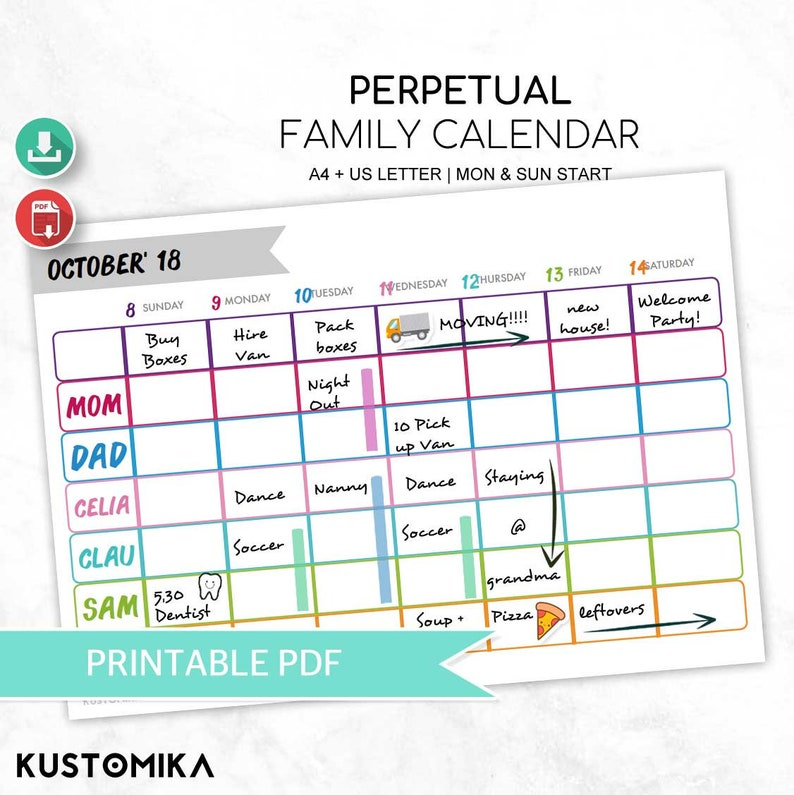 graphic regarding Weekly Family Planner titled Weekly Family members Calendar, Evening meal Planner, Household Calendar, Household Planner, Weekly Planner, Editable (English)