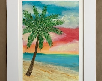 Original oil painting beach with palm tree