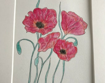 Original watercolor red poppies
