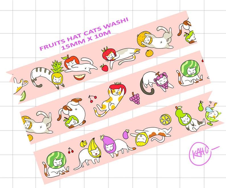 2285c54b482 Cat washi tape neko atsume fruit hat meme derpy stationary