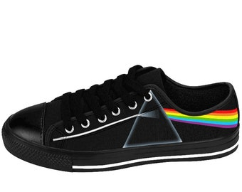 47130b634e Pink Floyd Shoes Dark Side Of The Moon Album Art Rainbow Prism Mens Unisex  Sneakers Black