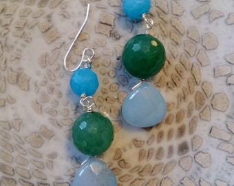 Sterling Silver Drop Earring in Blue and Green Aquamarine and Blue Quartz