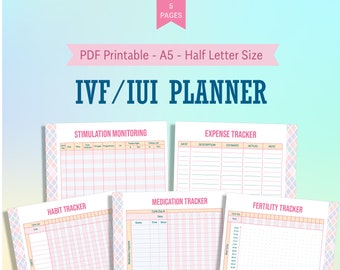 IVF IUI Planner A5 Half Letter Printable Template, Trying to Conceive Planner, Fertility Ovulation Tracker, Ivf iui organizer, Ivf Journey