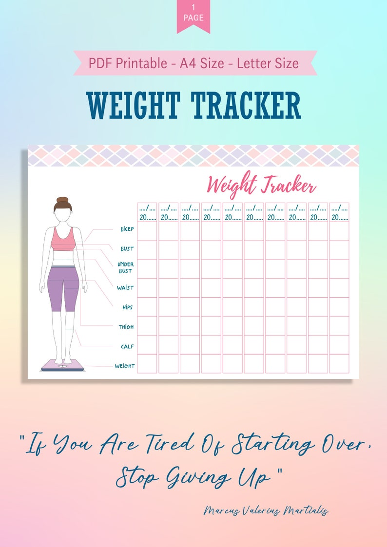 image relating to Printable Weight Loss Journal called Excess weight Decline Tracker Printable, Excess weight Decline System Size Chart Template, Fat Reduction Planner Bullet Magazine, Excess weight Reduction Enhancements Tracker